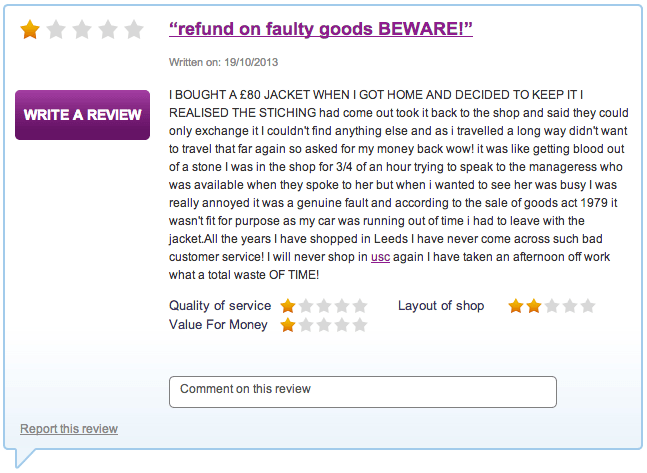 USC - refund on faulty goods BEWARE! review